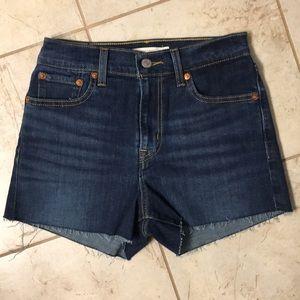 Levi's High Rise Dark Wash Shorts
